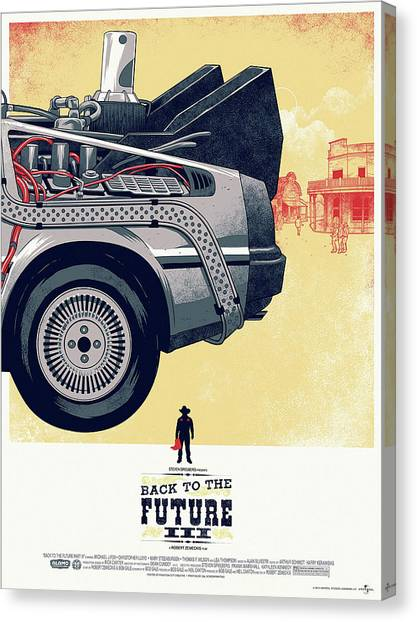 Back To The Future Canvas Print - Back To The Future Delorean Part 3 by Geek N Rock