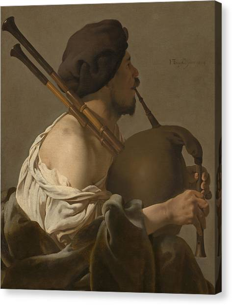 Bagpipes Canvas Print - Bagpipe Player by Hendrick Ter Brugghen