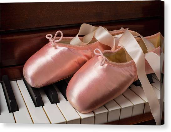 Ballet Shoes Canvas Print - Ballet Shoes On Piano Keys by Garry Gay