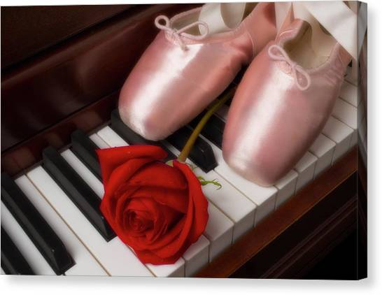 Dance Ballet Roses Canvas Print - Ballet Shoes With Red Rose by Garry Gay