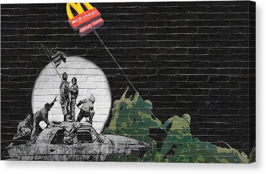 Pop Art Canvas Print - Banksy - The Tribute - New World Order by Serge Averbukh