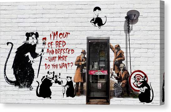Pop Art Canvas Print - Banksy - The Tribute - Rats by Serge Averbukh