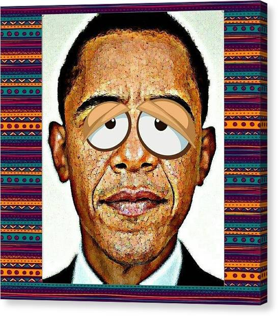 Barack Obama Canvas Print - Barack Obama Funny Serie - 6 by Nuno Marques