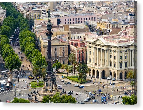 Atlantic Islands Canvas Print - Barcelona With Tree-lined Las Ramblas by Annie Griffiths
