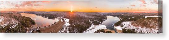 Barkhamsted Reservoir And Saville Dam In Connecticut, Sunrise Panorama Canvas Print