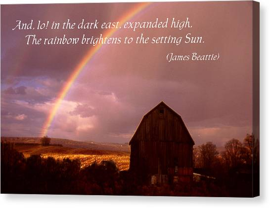 Barn And Rainbow Poster Canvas Print by Roger Soule