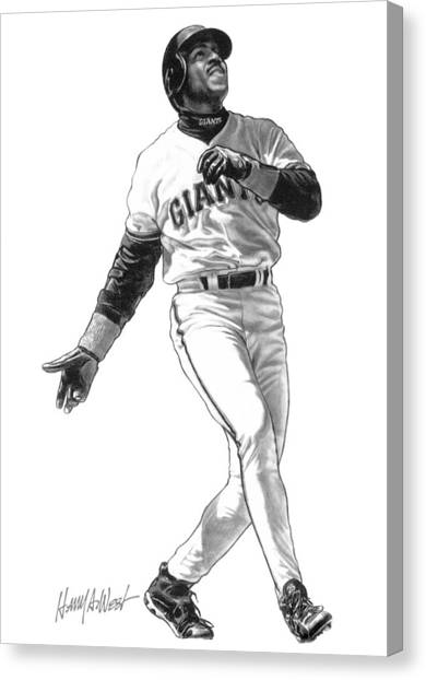 Baseball Players Canvas Print - Barry Bonds by Harry West