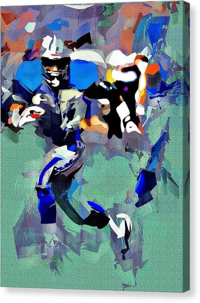 Barry Sanders Canvas Print - Barry Sanders by Bob Smerecki