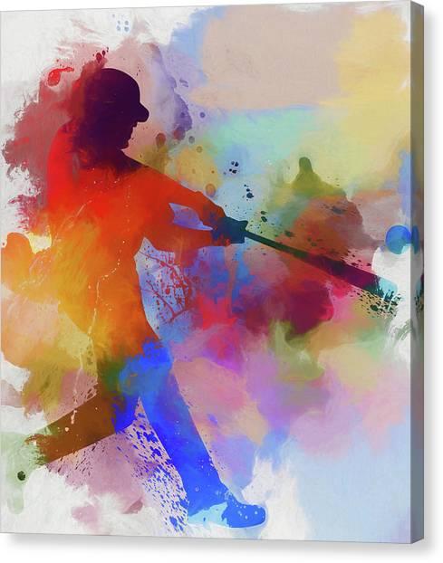 Baseball Players Canvas Print - Baseball Player Paint Splatter by Dan Sproul