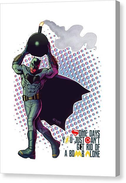 Ben Affleck Canvas Print - Batfleck And The Bomb by Khaled Alsabouni