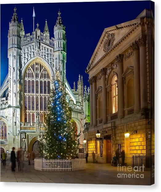 Bath Abbey At Night At Christmas Canvas Print