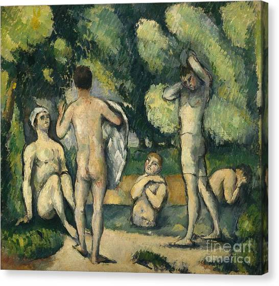 Post-impressionism Canvas Print - Bathers by Paul Cezanne