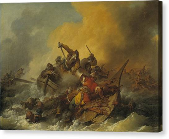 James Franco Canvas Print - Battle At Sea Between Soldiers And Oriental Pirates by Treasury Classics Art