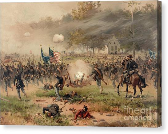 Confederate Army Canvas Print - Battle Of Antietam by Thure de Thulstrup