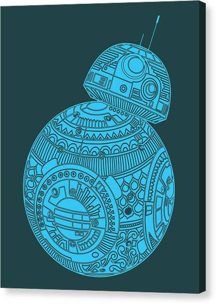 Droid Canvas Print - Bb8 Droid - Star Wars Art, Blue by Studio Grafiikka
