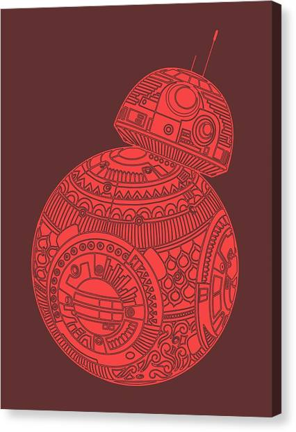 Droid Canvas Print - Bb8 Droid - Star Wars Art, Red by Studio Grafiikka