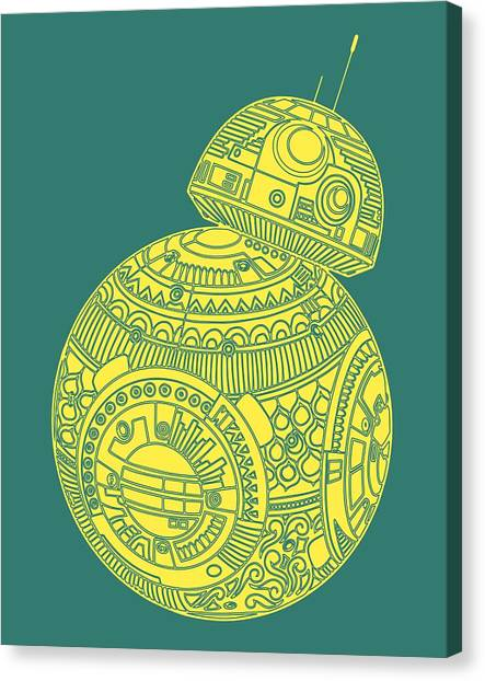 Droid Canvas Print - Bb8 Droid - Star Wars Art, Yellow by Studio Grafiikka