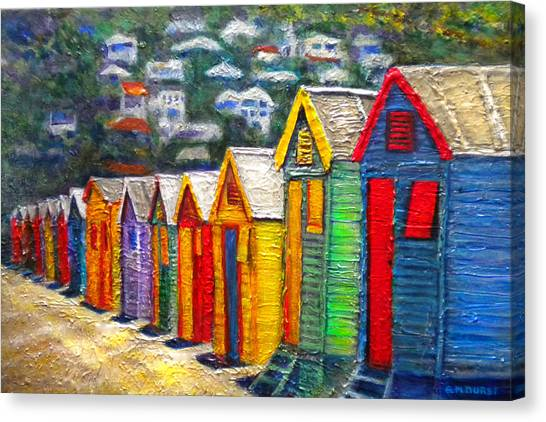 Cape Town Canvas Print - Beach Houses At Fish Hoek by Michael Durst