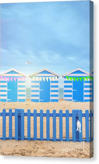 Bunting Canvas Print - Beach Huts by Amanda Elwell
