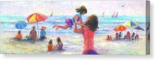 Big Sister Canvas Print - Beach Joy by Vickie Wade