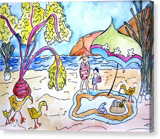 Beach Picnic Canvas Print by Suzanne Stofer