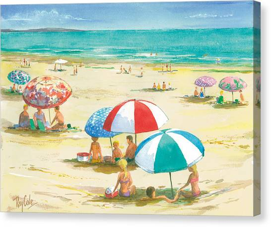 Ray Cole Canvas Print - Beach Umbrellas by Ray Cole