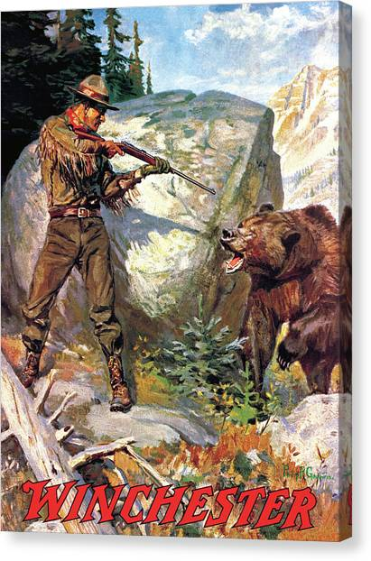 Canvas Print featuring the painting Bear Charging Man by Philip R Goodwin