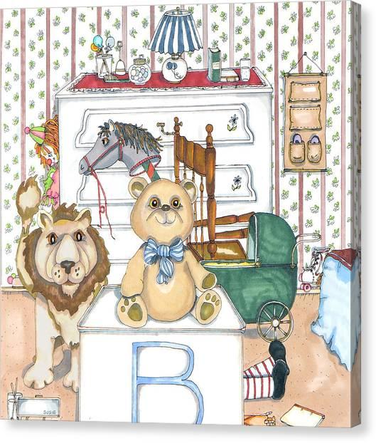 Bear On Block Canvas Print by Susan Nelson