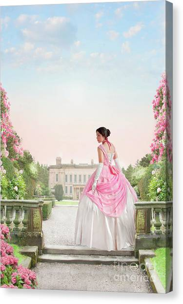 Beautiful Victorian Woman In The Garden Canvas Print