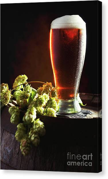 Lager Canvas Print - Beer And Hops On Barrel by Amanda Elwell
