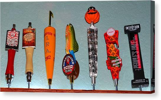 Craft Beer Canvas Print - Beer Tap Row by David Lee Thompson