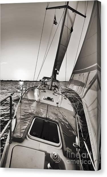 Beneteau 49 Sailing Yacht Close Hauled Charleston Sunset Sailboat Canvas Print