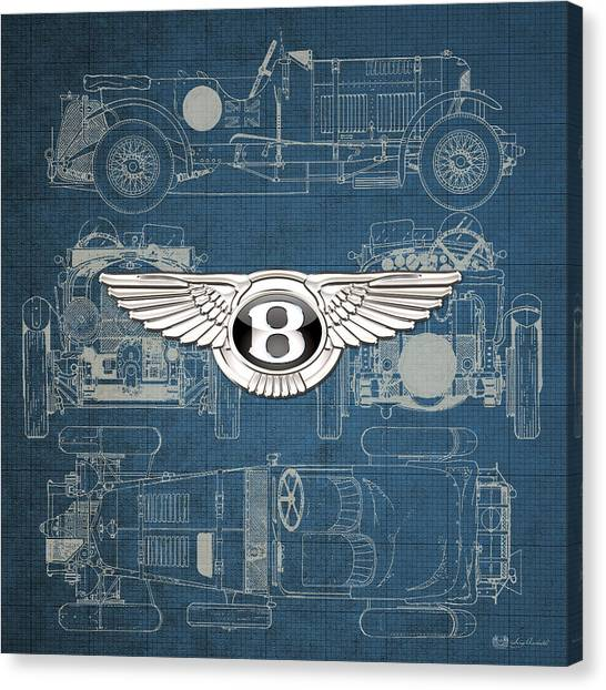 Automobiles Canvas Print - Bentley - 3 D Badge Over 1930 Bentley 4.5 Liter Blower Vintage Blueprint by Serge Averbukh