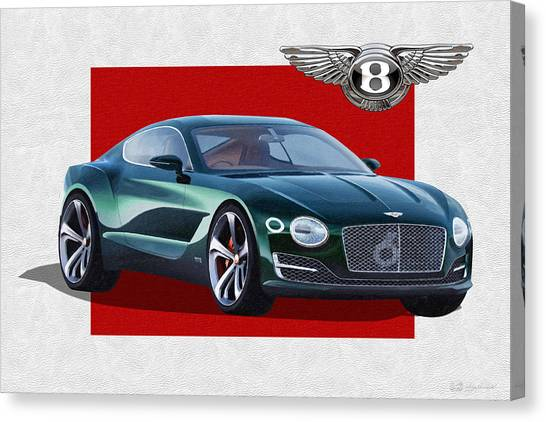 Automobiles Canvas Print - Bentley E X P  10 Speed 6 With  3 D  Badge  by Serge Averbukh