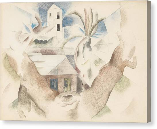 Precisionism Canvas Print - Bermuda No. 1, Tree And House by Charles Demuth