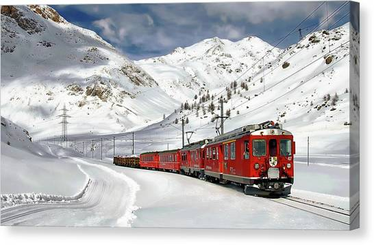 Bernina Winter Express Canvas Print
