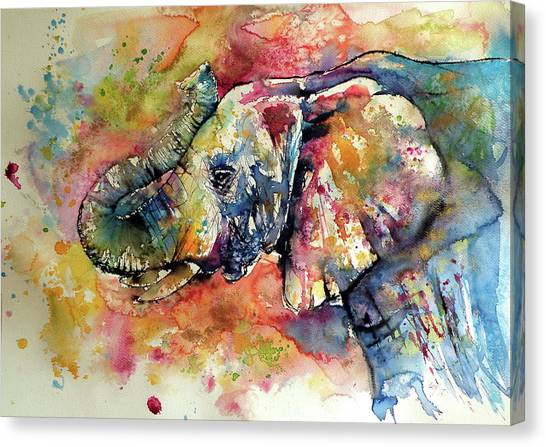Birthday Canvas Print - Big Colorful Elephant by Kovacs Anna Brigitta