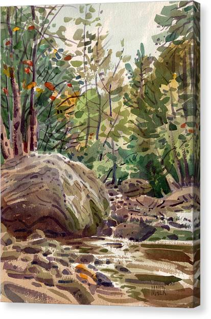 Big Rock At Sope Creek Canvas Print by Donald Maier