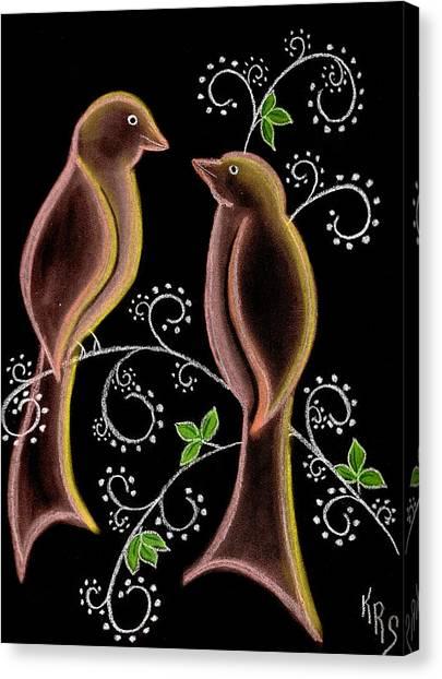 Bird Doodle Canvas Print by Karen R Scoville