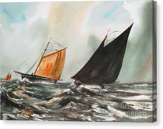 Galway Hooker Canvas Print - Black And Red by Val Byrne