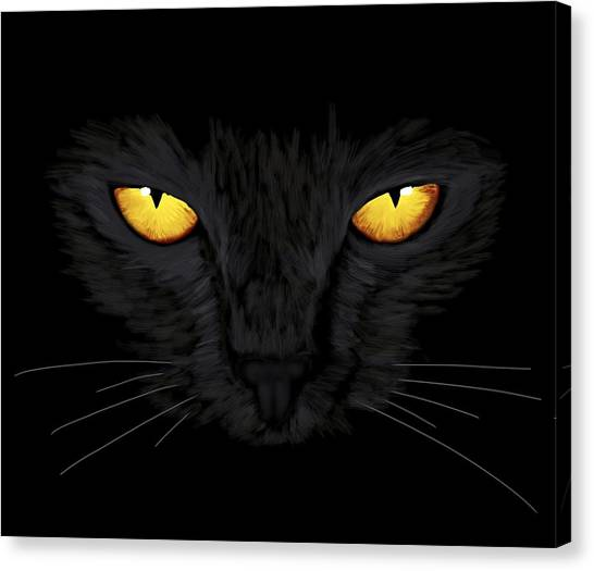 Canvas Print featuring the painting Superstitious Cat by Anastasiya Malakhova