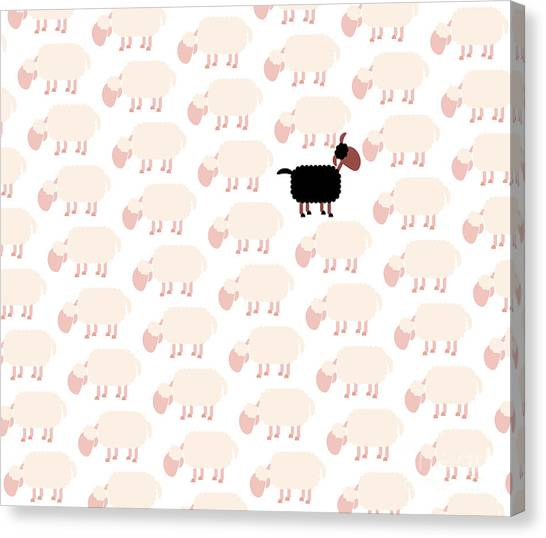 Different Opinions Canvas Print - Black Sheep Among White Flock by Peter Hermes Furian