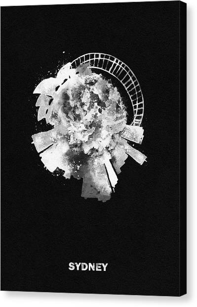 Sydney Skyline Canvas Print - Black Skyround Art Of Sydney, Australia by Inspirowl Design