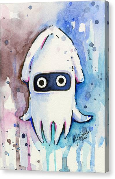 Squids Canvas Print - Blooper Watercolor by Olga Shvartsur