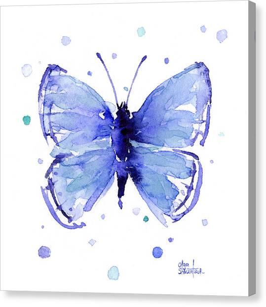 Dark Canvas Print - Blue Abstract Butterfly by Olga Shvartsur