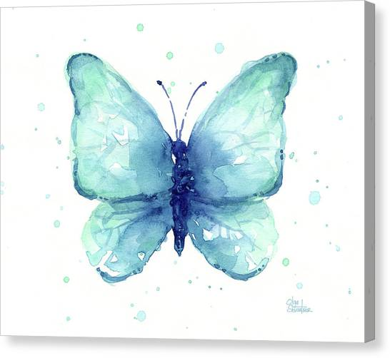 Butterfly Abstract Canvas Print - Blue Butterfly Watercolor by Olga Shvartsur