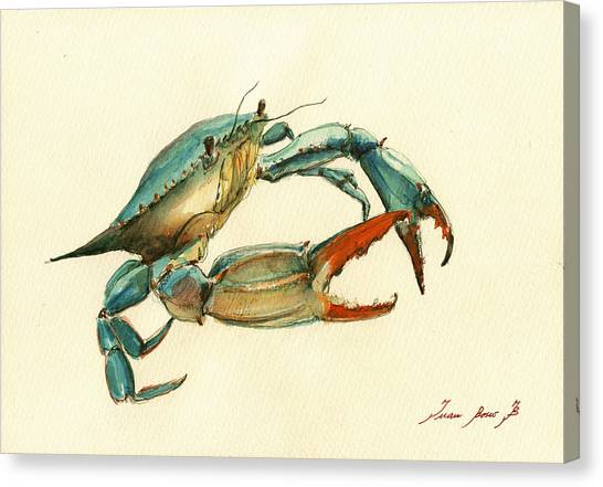 Crab Canvas Print - Blue Crab Painting by Juan  Bosco