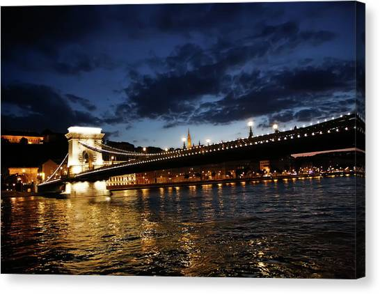Blue Danube Sunset Budapest Canvas Print