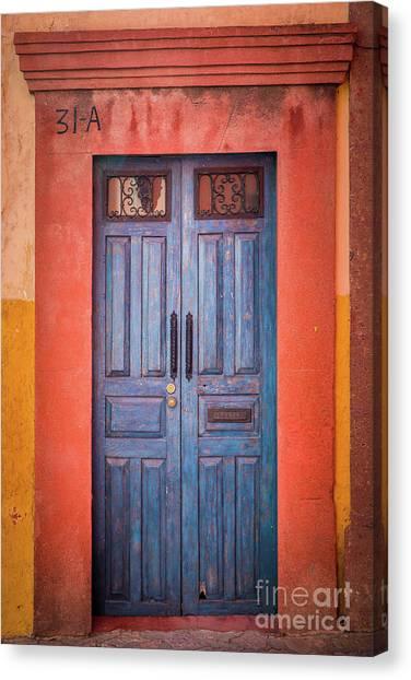 Guanajuato Canvas Print - Blue Door by Inge Johnsson