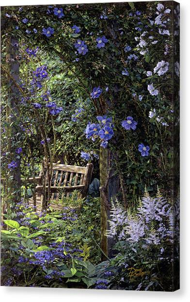 Blue Garden Respite Canvas Print